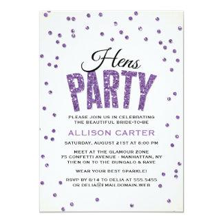 Lila Glitter-Blickconfetti-Henne-Party 12,7 X 17,8 Cm Einladungskarte
