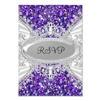 Lila Glitter-Diamanttiara-Bonbon 16 UAWG 2 8,9 X 12,7 Cm Einladungskarte