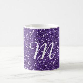 Lila Glitter-Gewohnheit mit Monogramm Kaffeetasse
