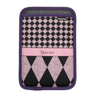Lila Glitter-Schachbrett u. Diamanten Sleeve Für iPad Mini