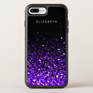 Lila Glitzer-SchwarzesTrendy moderner Chic cool OtterBox Symmetry iPhone 8 Plus/7 Plus Hülle