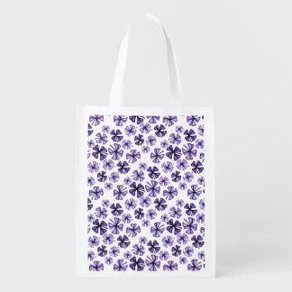 Lila glücklicher Kleeblatt-Klee Wiederverwendbare Einkaufstasche