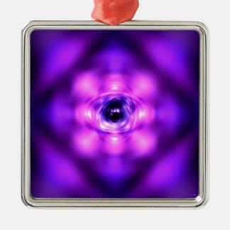 Lila glühendes Atom Silbernes Ornament