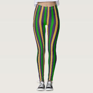 Lila Gold und grüne gestreifte Karneval-Gamaschen Leggings