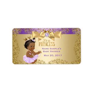 Lila Goldballerina-Prinzessin Babyparty ethnisch Adressaufkleber