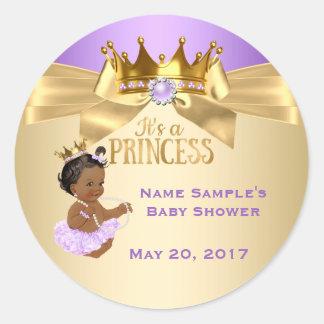 Lila Goldballerina-Prinzessin Babyparty ethnisch Runder Aufkleber