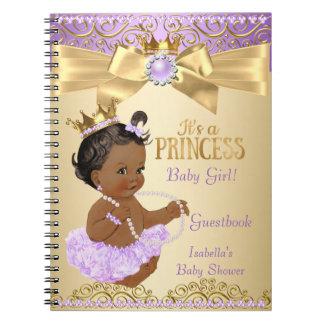 Lila Goldballerina-Prinzessin Babyparty ethnisch Spiral Notizblock