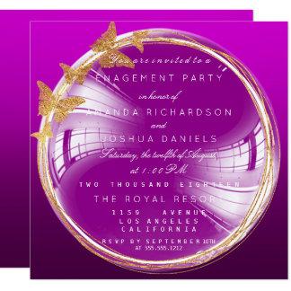 Lila goldenes Blasen-Hochzeits-Verlobungs-Party Quadratische 13,3 Cm Einladungskarte