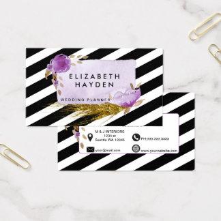 Lila Goldfolienblumengeschäftskarte Visitenkarte