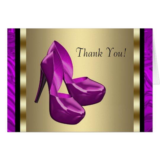 Lila Goldhohe Fersen-SchuheZebra danken Ihnen Karte
