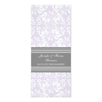 Lila graue Damast-gerade verheiratete 10,2 X 23,5 Cm Einladungskarte