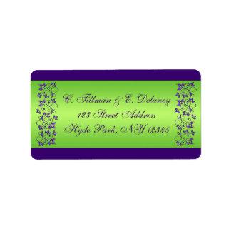 Lila, grünes Blumenhochzeits-Adressen-Etikett 2 Adress Aufkleber