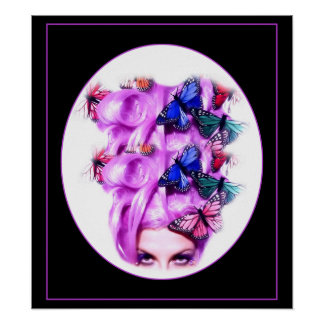 Lila Haar-Schmetterlings-Dame Poster/Druck 6 Poster