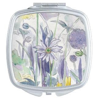 Lila Hase Blumen-Vertrag Taschenspiegel