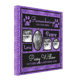 lila Haustier-ErinnerungsFoto-Collage des Leinwanddruck
