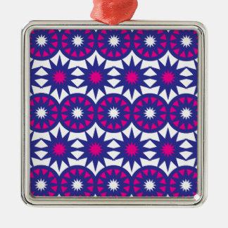 Lila heißes Rosa hat Kreis-SchneeflockenMandala in Quadratisches Silberfarbenes Ornament