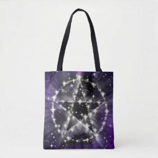Lila Himmel-glänzender PentagrammPentagram Wiccan Tasche