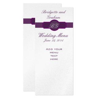 Lila Hochzeits-Menü-Karten auf silbernem Papier 10,2 X 23,5 Cm Einladungskarte