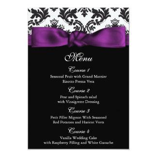 lila Hochzeitsmenü des Damastes 12,7 X 17,8 Cm Einladungskarte