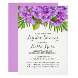 Lila Hydrangea-Brautpartyeinladung Karte