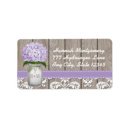 Lila Hydrangea-mit Monogramm Maurer-Glas Adressaufkleber