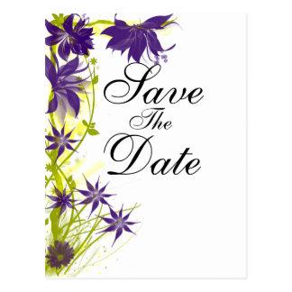 Lila Insel-Blumen, die Save the Date wedding sind Postkarte