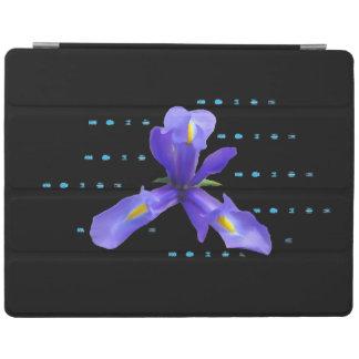 Lila Iris auf schwarzer Tablette-Abdeckung iPad Hülle