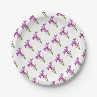 Lila Iris-botanische Blumenkunst Pappteller