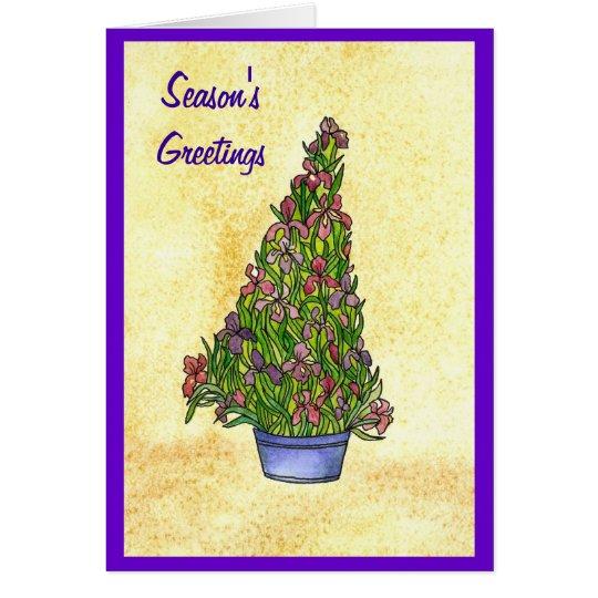 Lila Iris-Weihnachtsbaum-Karte Grußkarte