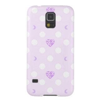 Lila Juwel-Herz-Mond-Muster Samsung S5 Cover