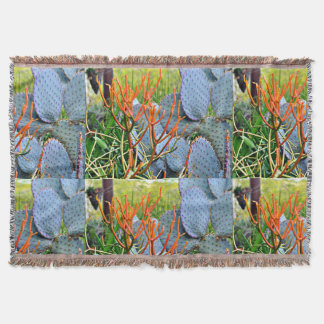 Lila Kaktus in der orange Throw-Decke Decke