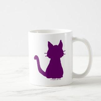 Lila Katzen-Silhouette Kaffeetasse