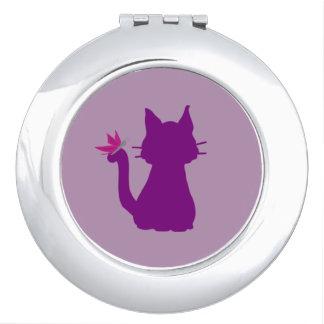 Lila Katzen-Silhouette-Rosa-Schmetterling Taschenspiegel