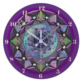 Lila keltische Mandala-Wand-Uhr Große Wanduhr