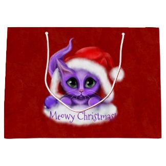 Lila Kitty Meowy Weihnachten auf Rot Große Geschenktüte