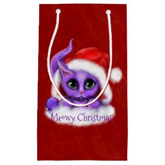 Lila Kitty Meowy Weihnachten auf Rot Kleine Geschenktüte