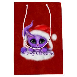 Lila Kitty Meowy Weihnachten auf Rot Mittlere Geschenktüte