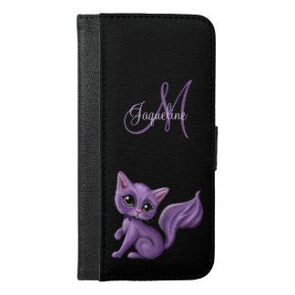 Lila Kitty-Monogramm iPhone 6/6s Plus Geldbeutel Hülle
