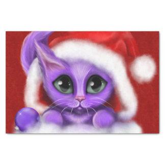 Lila Kitty-Weihnachten auf Rot Seidenpapier