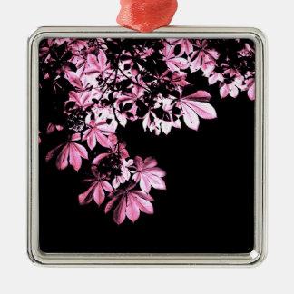 Lila Laub der Kunst Quadratisches Silberfarbenes Ornament