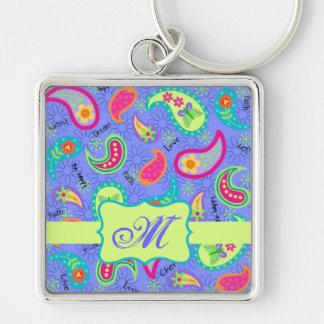 Lila Lavendel-modernes Paisley-Muster-Monogramm Silberfarbener Quadratischer Schlüsselanhänger