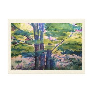 Lila Leinwand-Druck Zypresse-Bäumewatercolor-14x10 Leinwanddruck