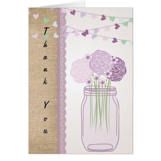 Lila lila Maurer-Glas-Leinwand-Spitze danken Ihnen Mitteilungskarte