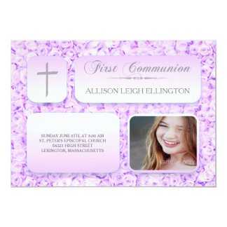 Lila lila Rosen-erstes Kommunions-Gewohnheits-Foto 12,7 X 17,8 Cm Einladungskarte
