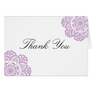 Lila lila SpitzeDoily danken Ihnen zu kardieren Karte