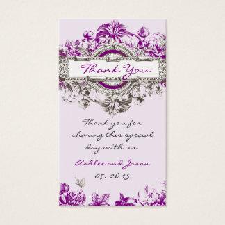 Lila lila Vintage Blumenhochzeit danken Ihnen zu Visitenkarte