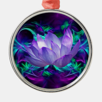 Lila Lotos-Blume und seine Bedeutung Silbernes Ornament