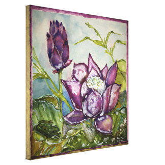 Lila Lotos-Froschwatercolor-Druck eingewickelte Leinwanddruck