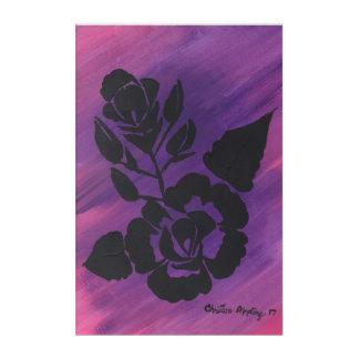 Lila magentarote rosa Silhouette-Rosen-Acryl-Kunst Acryldruck