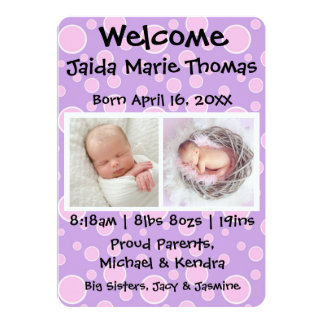 Lila mit rosa Punkten u. Foto-Geburts-Mitteilung Karte